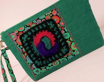 Granny Square Bag, Zip Clutch, Zipper Pouch, Turquoise, Purple, Pink