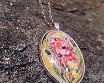 Doe Necklace - Doe Jewelry - Doe Charm - Deer Necklace - Deer Pendant - Spring Deer