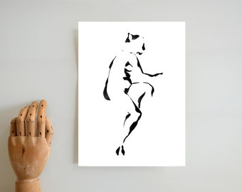 A5 & A4 Nude Fine Art Ink Print from the original drawing- Female  Body  Ink black white minimal art print , woman nude pose,  contemplation