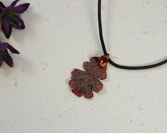 SALE Leaf Necklace, Copper Oak Leaf, Real Lacey Oak Leaf Necklace, Copper Leaf Pendant, SALE57