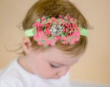 Hot Pink Lime Green Chevron Stripe Shabby Flower Rose Headband - Photo Prop - Newborn Baby Clip - Little Girls Hair Bow Accessories