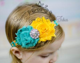 Pineapple Printed Headband - Bright Aqua Teal Yellow Fruit Print Band Newborn Little Girls Hair Bow - Shabby Flower Hairbow Hair Accessories