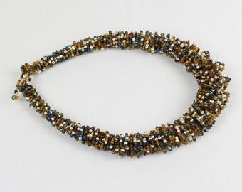 African Chunky Choker. White, Blue, Golden Hand Woven Bib Necklace. Collar Style. MapenziGems DB23