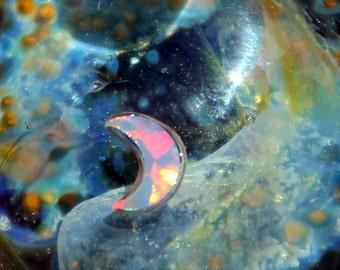 Opal Moon Lampwork Starry Night Starry Night Necklace, Lampwork Blown Boro Glass Art Sky SRA, Blown Glass Universe Space Jewelry