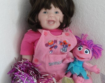 "Big 27"" Reborn Toddler Girl Doll ""London"" from Ladybug Sculpt w. Sesame Street Abby"