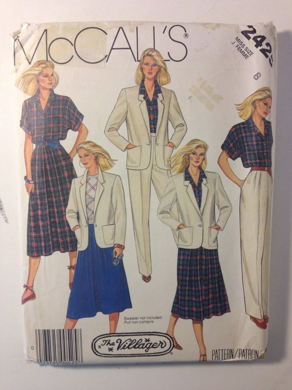 Vintage 80s McCalls 2425 Sewing Pattern Misses Jacket Shirt Skirt and Pants Uncut Size 8
