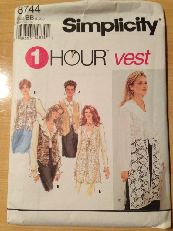 Vintage 90s Simplicity 8744 Sewing Pattern Misses Set of Lined Vests Size 18-24