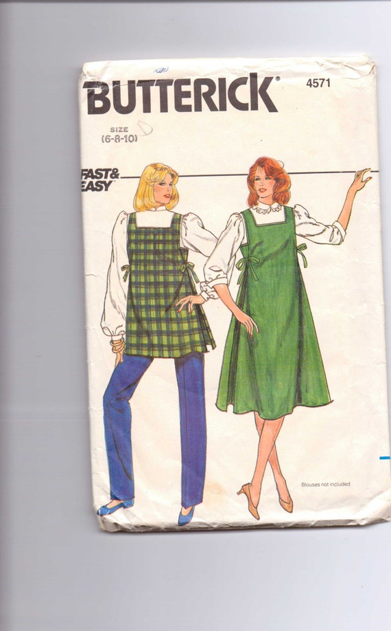 Butterick Sewing Pattern 4571 80s Misses Maternity Jumper, Top and Pants Size 6-8-10