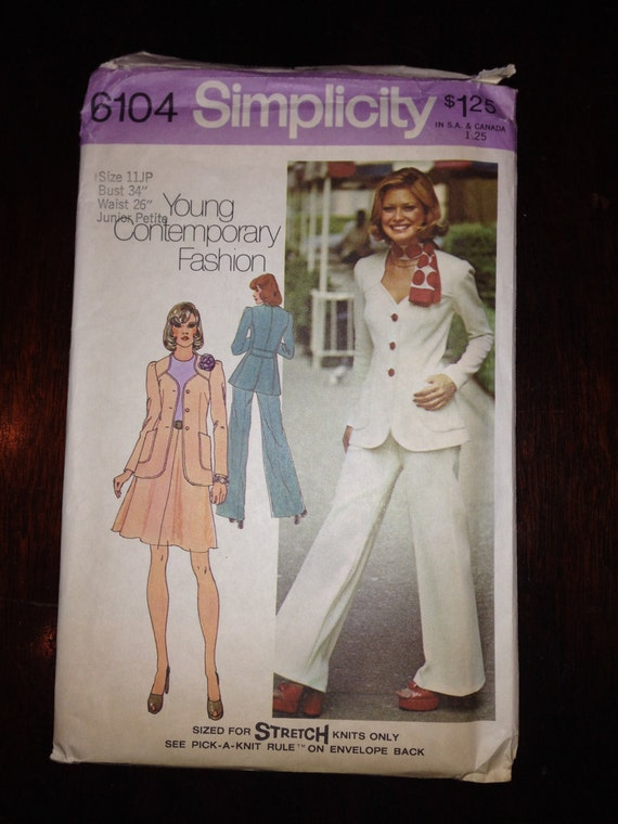 Simplicity Sewing Pattern 6104 70s Junior Petites Unlined Jacket, Skirt and Pants Size 11 Junior Petite Uncut