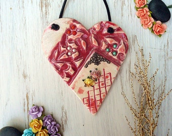 Pink Heart Wall Hanging, Handmade Ceramic Asymmetric Heart Ornament With Paper Flower Filigree Brass Corner Decor and Crystals Ready To Ship