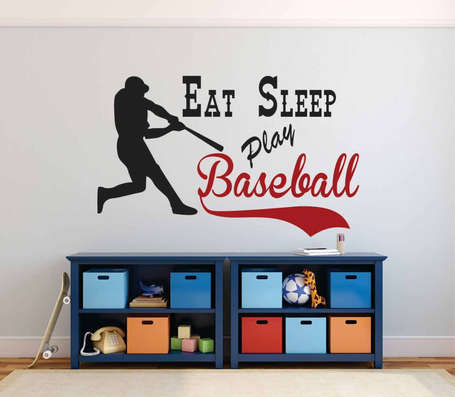 Baseball Wall Decal Eat Sleep Play Baseball Baseball Decor - Custom vinyl baseball decals
