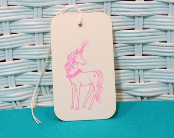 Hand Stamped Set of 6 Unicorn Tags