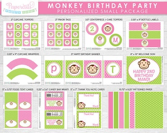 Monkey Girl Theme SMALL Birthday Party Package | Pink & Green | Personalized | Printable DIY Digital File