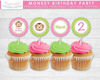 Monkey Girl Theme Birthday Party Cupcake Toppers | Pink & Green | Personalized | Printable DIY Digital File
