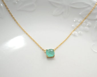 mint necklace, mint crystal necklace, square stone, glass stone, Everyday Necklace