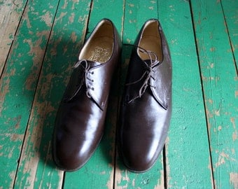 Men's Vintage Brown Leather Oxfords /  Leather Dress Shoes by Presidents Collection  / Size 10
