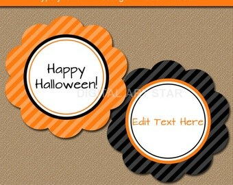 Halloween Thank You Tags - Halloween Cucpake Toppers, Printable Halloween Party Favor Tags EDITABLE Halloween Gift Tag Halloween Birthday H1