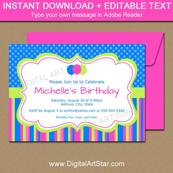 girl birthday invitation template woman birthday invitation blue