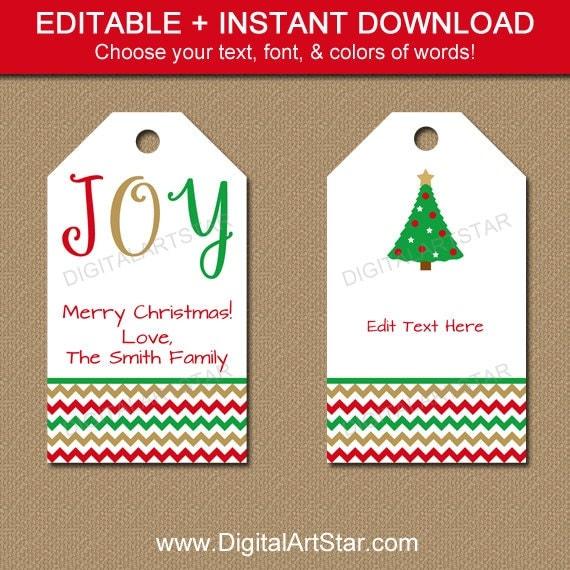 printable christmas gift tags editable by digitalartstar on etsy. Black Bedroom Furniture Sets. Home Design Ideas