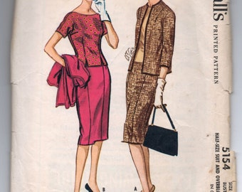 """1950's McCall's Suit and Jacket Pattern - Bust 35"""" - No. 5154"""