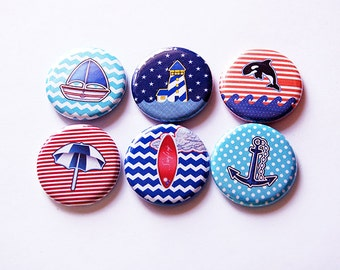 Nautical Magnets, Beach magnets, Magnets, Magnet set, Fridge Magnets, button magnet, Kitchen Magnets, Seaside Magnets, Beach House (5701)