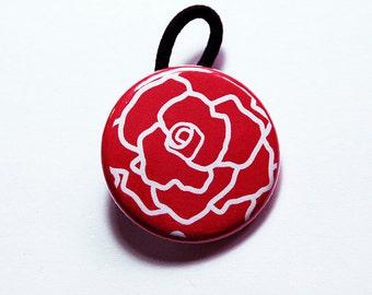 Rose Ponytail Holder, Red Rose, Hair Elastic, flower hair elastic, stocking stuffer, Gift for her, pony tail, rose hair elastic (6155)