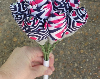 Magenta and Navy Blue Fabric Bouquet - Alternative Bride