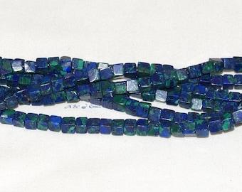 "Azurite Malachite 4.5mm Cube Gemstone Bead AAA - 13.5"" Strand"