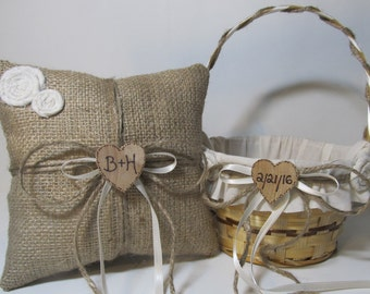 Personalized Country Flower Girl Basket and Ring Bearer Pillow for your Rustic Wedding Day