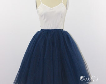Clarisa - Navy Blue Tulle Skirt, 7-Layers Puffy Tutu, Dark Blue Swiss Tulle Princess Tutu, Knee Length Midi Tutu
