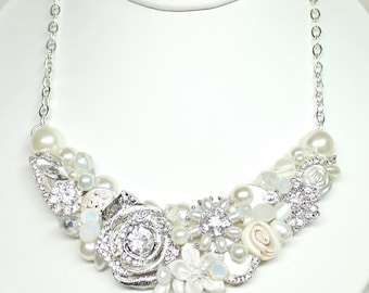 Bridal Statement Necklace- Rhinestone Bib Necklace- Pearl Bridal Necklace- Wedding Necklace- Bridal Bib- Pearl Wedding Necklace-Brass Boheme