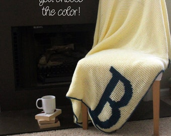 Afghan Throw Blanket Crochet - Solid Off White Afghan with Deep Blue Initial Monogram - Made To Order