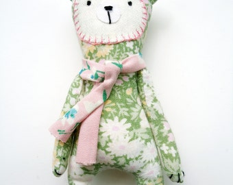 pocket bear vintage fabric plushie display shelf sitter