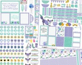 Lavender Mint Printable Planner Stickers Kit.  EC & Happy Planner Purple and Green Foxes, Hedgehog Weekend Banners Titles Icons