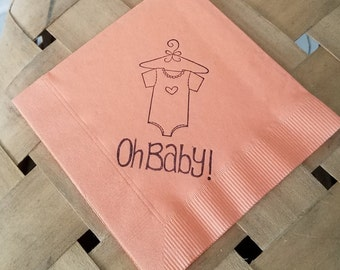 Oh Baby Onesie Tiny Heart Baby Shower Peach Coral Cocktail Napkins Gender Reveal Party - Set of 50