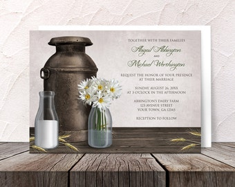Dairy Farm Wedding Invitations and RSVP cards - Country Farm Antique Milk Can - Printed Invitations