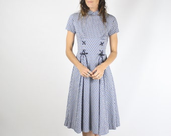 50s Gingham Cotton Dress, 1950s cotton day dress, XS