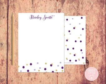 Confetti Notecards, Stationery, Women's Personalized Notecards, Confetti theme notecards, Birthday Gift, Girls Gift - Lovely Little Party