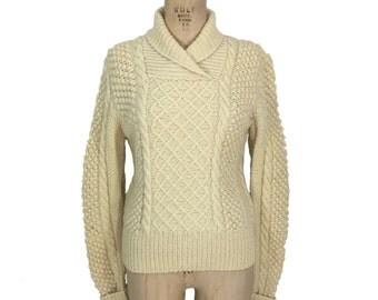 vintage shawl collar fisherman sweater / cream ivory / wool / popcorn sleeves / Irish sweater / women's vintage sweater / size medium