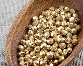 Gold beads 4mm Czech Glass Beads Gold Fire Polished (50) Round Faceted Shiny Metallic Opaque beads