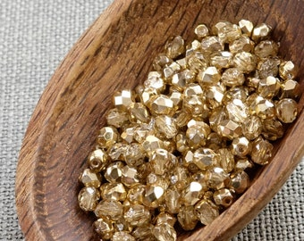 4mm Gold beads 50pc Fire polished beads 4mm Gold faceted beads Opaque beads Czech beads 4mm round beads glass beads
