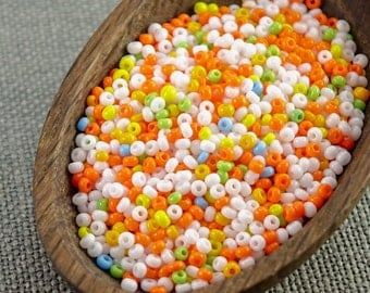 20g Czech seed beads Mixed orange white seed beads MIX-17 Czech rocailles Seed bead soup 10/0 seed beads last