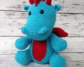 Hydro the Dragon, Crochet Dragon, Stuffed Animal, Dragon Amigurumi, Plush Animal, MADE TO ORDER