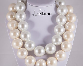 Huge statement design necklace, large faux pearl necklace, cream white, huge faux, 30mm large white ivory pearls, fashion statement necklace