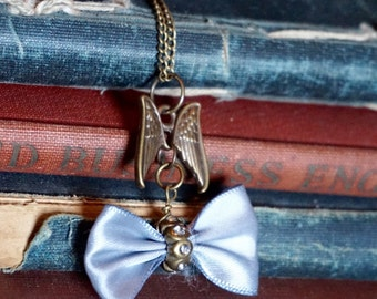 Angel Wing Charm Necklace, Grey Bow charm, Steampunk Angel Pendant Necklace, Victorian, Steampunk Necklace, Victorian Style Charm Necklace,
