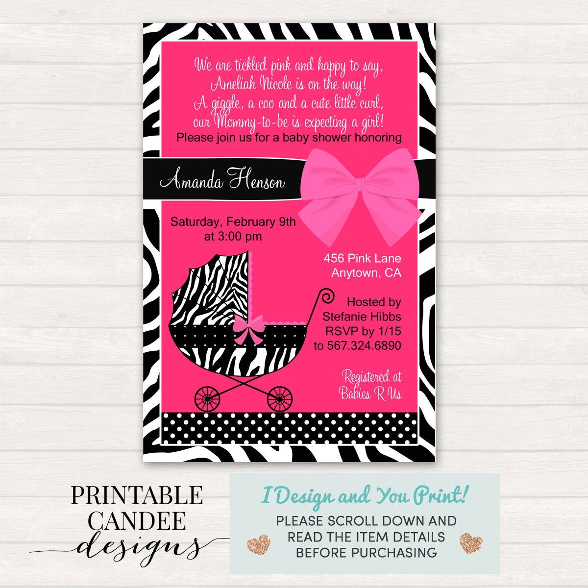 Zebra Baby Shower Invitation Hot Pink Zebra Invitation Hot