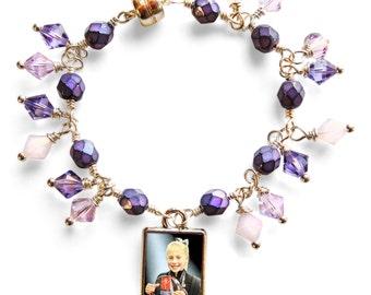 Custom Little Girls Double-Sided Swarovski Charm Bracelet