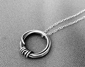 Silver Circle Necklace, Sterling Ring Necklace, Geometric Necklace, Sterling Silver Minimalist