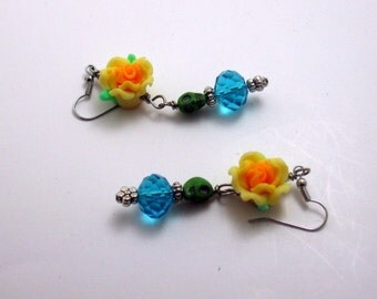 Sugar Skulls Day of the Dead  Flower Earrings