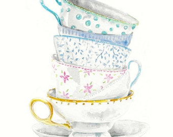 Still Life Kitchen Decor Art Print of Original Watercolor Painting -- Teacups no. 7